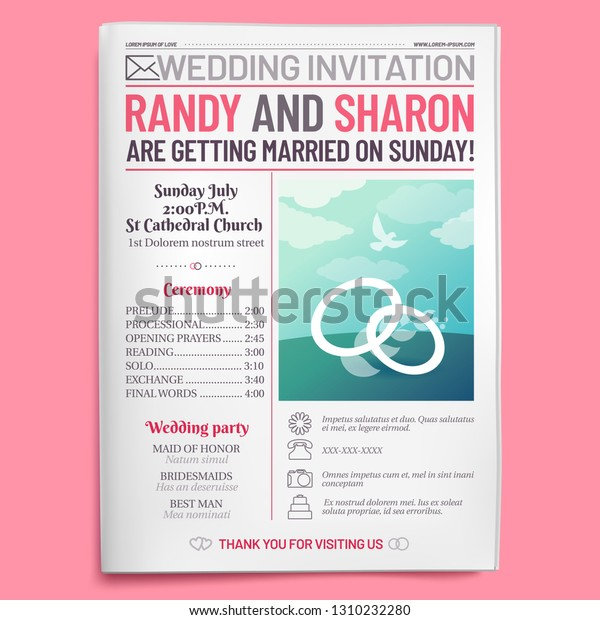 Wedding Invitation Tabloid Newspaper Front Page Stock Vector