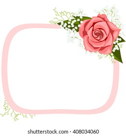 Wedding invitation, tag with pink rose and white baby's breath. Vector.