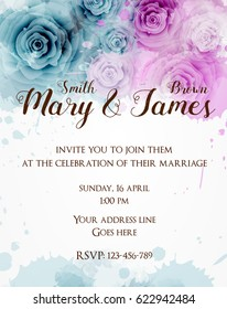 Wedding invitation template with abstract rose flowers on watercolor background.