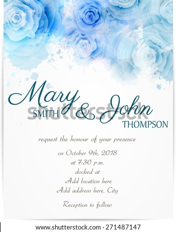 Wedding Invitation Template Abstract Roses On Stock Vector Royalty