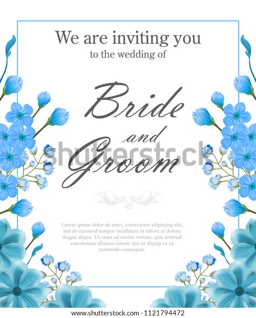 Wedding invitation template with blue frame and forget me nots. Text can be used for invitation cards, postcards, save the date design
