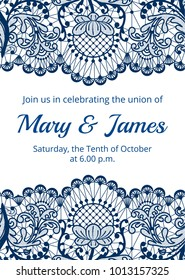 Wedding invitation template with blue lace border on white background