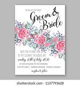 wedding invitation template blush pink pale roses peony ranunculus eucaliptus flower greenery leaves floral bouquet decoration