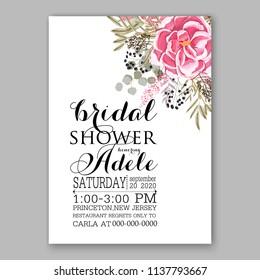 Wedding Invitation Floral Bridal Shower Invitation Stock Vector