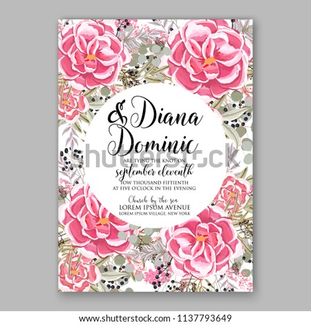 Wedding Invitation Template Blush Pink Pale Stock Vector Royalty