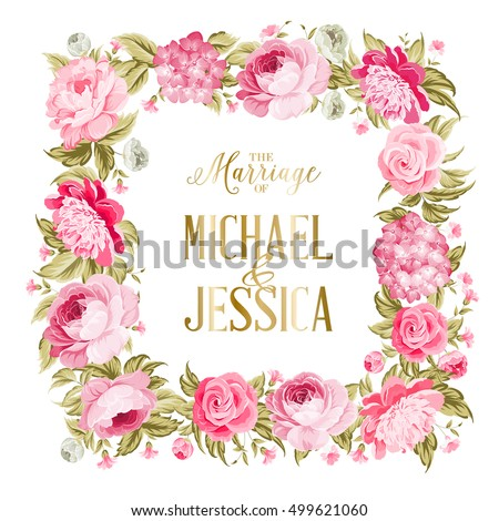 wedding invitation template border red flowers stock vector royalty
