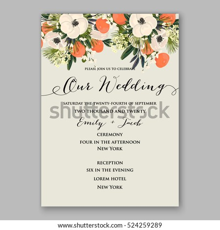 wedding invitation template card tangerine watercolor のベクター