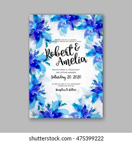 Wedding Invitation Template Card Tropical Floral Stock Vector