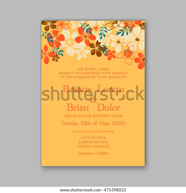 wedding invitation template card tropical floral stock