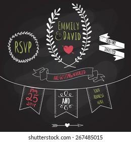 Chalkboard Wedding Invitation Images Stock Photos Vectors