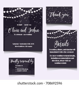 WEDDING INVITATION TEMPLATE DESIGN. Editable vector illustration file.