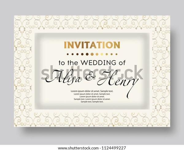 Wedding Invitation Template Elegant Background Golden Stock