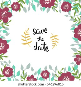 """Wedding invitation template with floral decor elements and a phrase """"Save the date""""."""