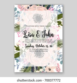 Wedding invitation template with floral ornament of peony, rose, rununculus, anemone, poinsettia, poppy card printable template