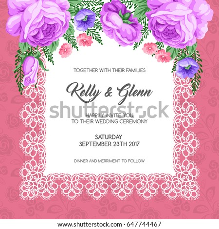 wedding invitation template flowers vector illustration stock vector