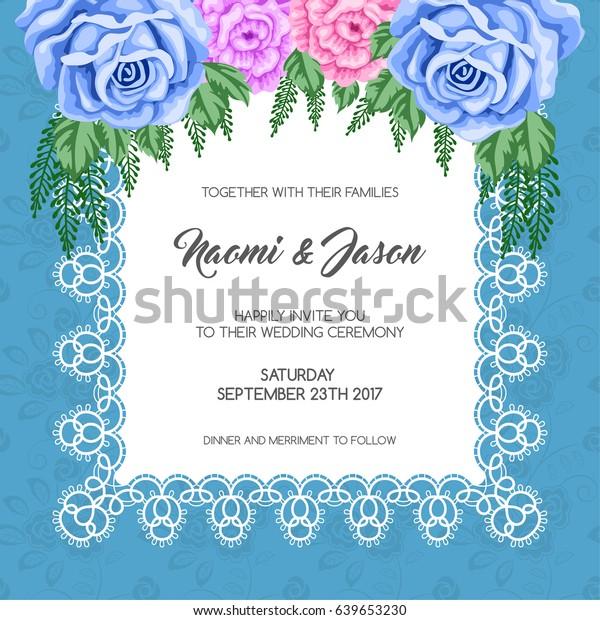 Wedding Invitation Template Flowers Vector Illustration Stock ...
