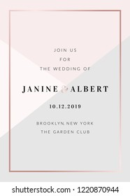 Wedding invitation template with geometric elements in pastel pink and gray, rose gold details, sample text layout.