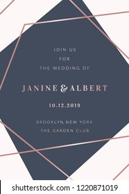 Wedding invitation template with geometric elements in navy blue and white, rose gold details, sample text layout.