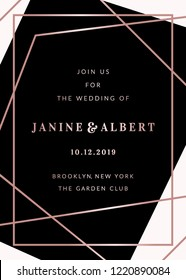 Wedding invitation template with geometric elements in black and white, rose gold details, sample text layout.