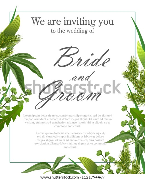 Wedding invitation template with green leaves and fur branches. Text in frame can be used for invitation cards, postcards, save the date design