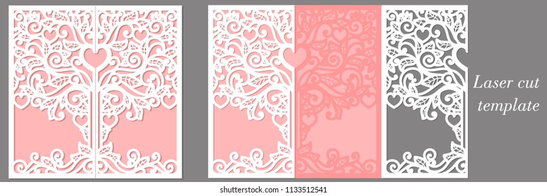 Wedding invitation template for laser cutting. Suitable for registration of invitations, menus.
