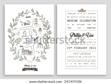 WEDDING INVITATION TEMPLATE WITH MAP. ROYAL INVITATION DESIGN. Nice layout. Editable vector illustration