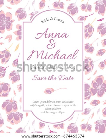 Wedding Invitation template. Modern design. Tradition decoration for wedding. Vector illustration
