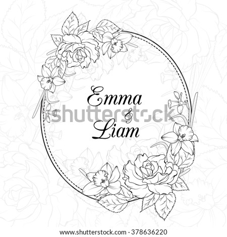 Wedding Invitation Template Oval Floral Frame Stock Vector Royalty