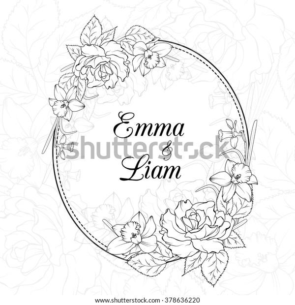 Wedding Invitation Template Oval Floral Frame Stock Vektorgrafik