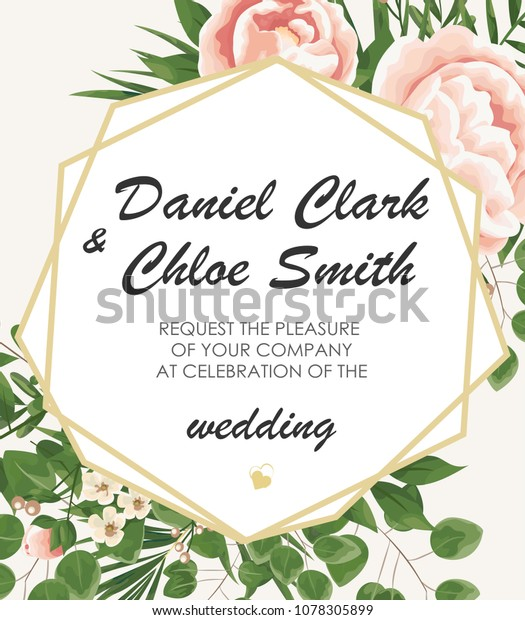 Wedding Invitation Template Peonies Flowers Green Stock Vector