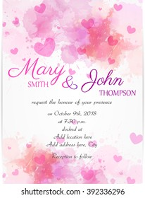 Wedding invitation template with pink hearts on watercolor background