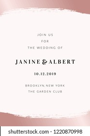 Wedding invitation template with rose gold decorative elements and sample text layout on light blush pink background.