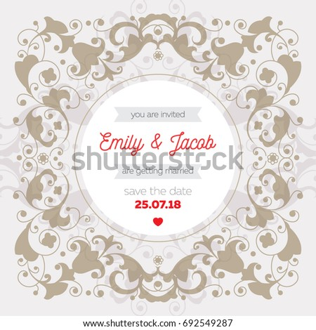 wedding invitation template save date card stock vector royalty