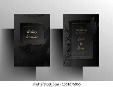 Wedding invitation template set. Elegant, simple design in black and graphite color with hand-painted floral elements and gold frames. A4 format. Vector 10 EPS.