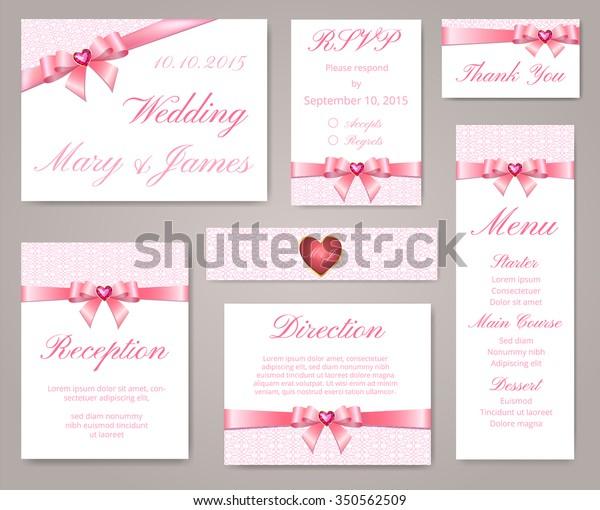 Wedding Invitation Template Set Lace Border Stock Vector