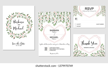 Wedding invitation template set with pink small flower and golden heart symbol, white background.