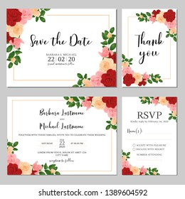 Wedding invitation template set with rose flower bouquet decoration. Realist style of bridal cards.