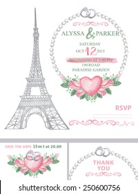 Фотообои Wedding invitation template set.Watercolor with Eiffel tower,watercolor pink roses wreath ,pearls,rings,swirls border.Wedding invitation,save the date card, thank you card,RSVP.Cute vintage Vector
