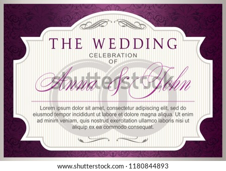 Wedding Invitation Template Silver Violet Marsala Stock Vector
