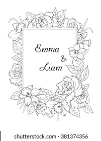 Wedding invitation template. Spring flowers frame design element. Rose and narcissus flowers. Black and white vector illustration.