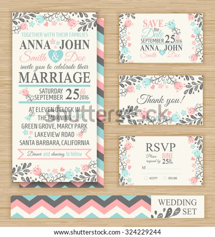 wedding invitation template thank you card stock vector royalty