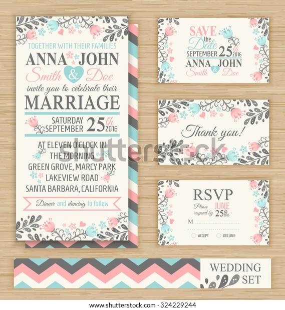 Wedding Invitation Template Thank You Card Stock Vector Royalty