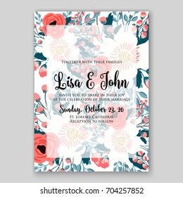 Wedding invitation template with vector floral clip art
