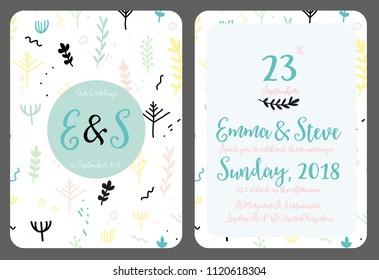 Wedding invitation template vector illustration