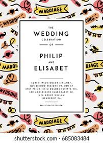 Wedding Invitation template. Vector illustration