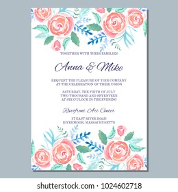 Wedding invitation template with watercolor roses, thank you card, save the date cards, baby shower, menu, flyer, banner template.Watercolor gentle background for invitations or greeting cards.