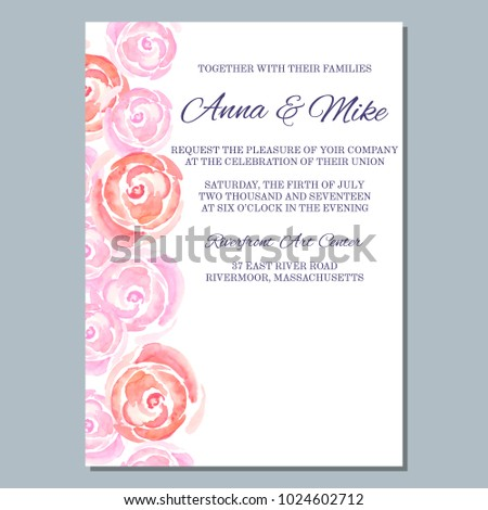 Wedding Invitation Template Watercolor Roses Thank Stock Vector