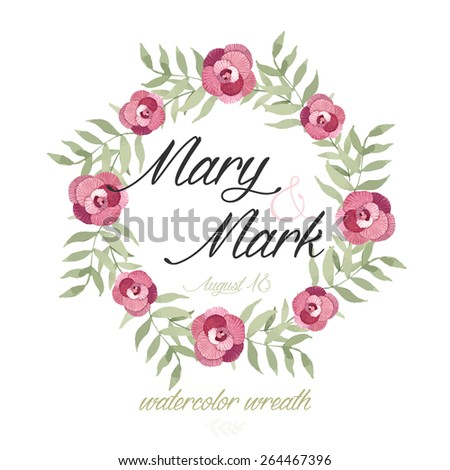wedding invitation template watercolor wreath flowers stock vector