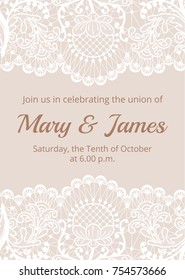 Wedding invitation template with white lace border on beige background