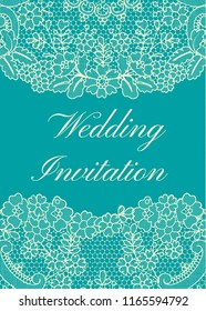Wedding invitation template with yellow lace border on green background